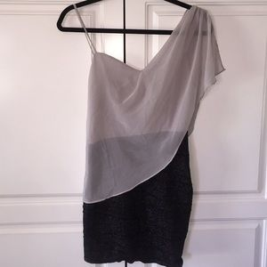 Wow Couture draped sheer body con dress